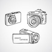 Hand drawn cameras - vector — Stock Photo