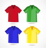Multi-colored T-shirts under the application of your logo — Stock Photo