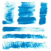 Textural strokes blue gouache paint — Stock Photo