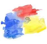 Red blue and yellow watercolor background — Stock Photo
