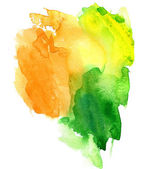 Orange green and yellow watercolor background — Stock Photo