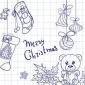 Merry Christmas congratulation doodle sketch banner — Stock fotografie