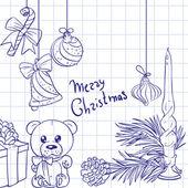 Christmas doodles seamless background 1 — Stock Photo