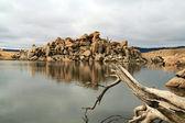 Rock reflection in Lake Jindabyne — Stock Photo