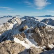 Stock Photo: Mountain peaks covered in snow