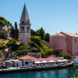Meaditteraneam port with a church — Stock Photo #42614311