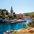 Meaditteraneam port with a church — Stock Photo #42614347