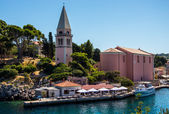 Meaditteraneam port with a church — Stock Photo