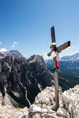 Wooden cross on mountain's top — Stok fotoğraf