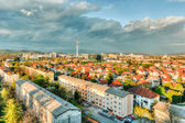 City view with low block of flats — Stock Photo