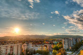 City view with a sunset — Stock fotografie