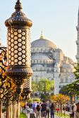 Arabic light with Blue mosque in the back — Stock Photo