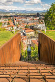 Funicular descending with panoramic view of a city — Stock Photo