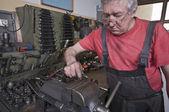 Cheking in machine workshop — Stock Photo