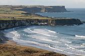 Foggy and sunny coastline with bays — Stock Photo