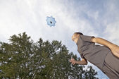 Playing with parachute toy — Stock Photo