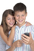 Girl & boy close looking mobile phone — Foto Stock
