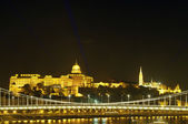 Buda Castle and Fisherman Bastion by night, Budapest — Stock Photo