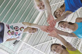 Teens in gymnasium — Stock Photo