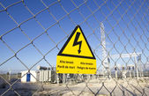 Danger signal electrocuted - power plant — Stock Photo