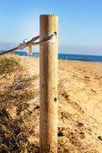 деревянный столб на пляже — Стоковое фото