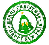 Merry christmas and happy new year stamp — Stock Photo