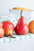 Pears on a tablecloth — Stock Photo