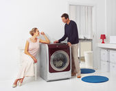Doing laundry at home — Stock Photo