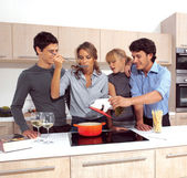 Friends Preparing Breakfast e — Stock Photo