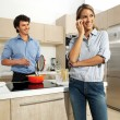 Cute mature couple preparing food — Stock Photo #47714327