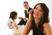 Woman speaks on a mobile phone l — Stock Photo