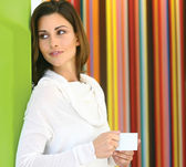 Woman with tea l — Stock Photo