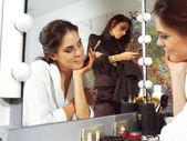 Woman in dressing room dlm — Foto de Stock