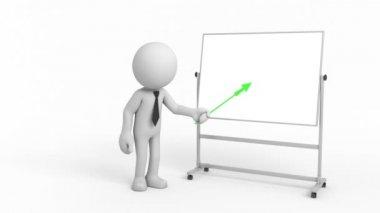 3d cartoon businessman with indicator — Stock Video