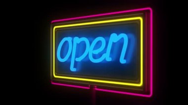 Open sign. NEON — Stock Video