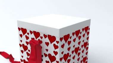 White gift box with red hearts opening — Stock Video