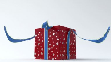 Red - silver star gift box with blue ribbon opening — Stock Video