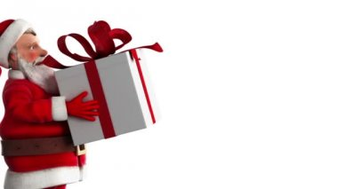 Santa Claus carrying a gift box — Stock Video