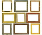 Set of vintage gold picture frame isolated on white — Stockfoto