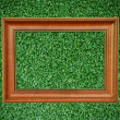 Vintage wood picture frame on beautiful deep green grass texture — Zdjęcie stockowe #27686067