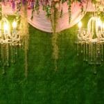 yeşil renkli duvar üzerinde Vintage lamba — Stok fotoğraf