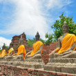 Ancient buddha statues with blue sky — ストック写真