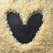 Rice and heart space — Stock Photo