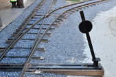 Railway junction and switch — Stock Photo