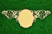 Vintage classical frame on green plant — Stock Photo