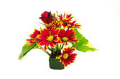 Bouquet red chrysanthemum flower isolated on white — Stock Photo