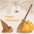 Card the Halloween 1 - pumpkin, mice, sweeper, web — Stock Vector