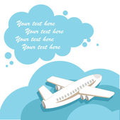 The plane with a cloud for the text (vector) — Vettoriale Stock