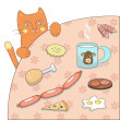 Cat and food (vector) — Vector de stock