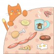 图库矢量图片: Cat and food (vector)